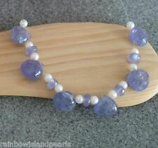 6 Natural Periwinkle Blue Tanzanite Heart Brio + Rondelle Beads + Seed Pearls