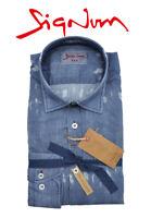 SIGNUM HEMD Rugged Freizeithemd Blau Langarm Slim Fit 171516 Shirt Gr. S-2XL
