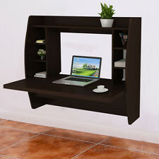 Wall Mount Floating Computer Desk Storage Two Shelf Laptop Computer Home New