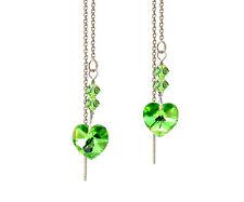 *CKS*  w/ Swarovski Peridot Green AB Heart Sterling Silver Ear Thread Earrings