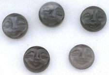 ONE 10mm Round Gray Natural Carved Moonstone Face Gem Cab Gemstone Cabochon