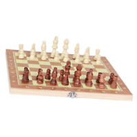 "Folding Wooden Chess Travel Board Game 9.4''x9.4"" Chess & Checkers & Backgammon"