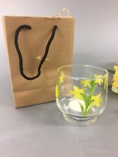 Hand Painted Votive Tea Light Holder Daffodil Design