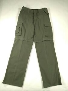 Boy Scouts men's convertible cargo pants 34x35 army green 8 pocket pre-owned