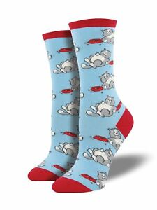 Socksmith Women's Novelty Crew Socks, WNC880 Time for a Cat Nap - Air Blue