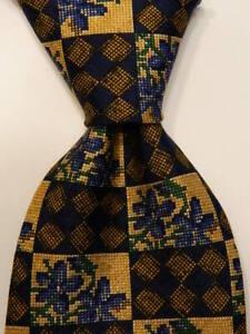 ERMENEGILDO ZEGNA Men's 100% Silk Necktie ITALY Luxury FLORAL Blue/Tan/Gold EUC