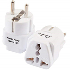 2 Pack European Travel Adapter Plug Outlets Type C E F Works In France Spain