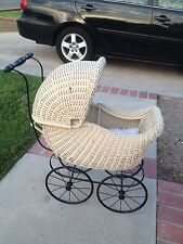 Antique Victorian Heywood Wakefield Wicker Baby Doll Buggy