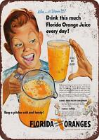 "1951 Florida Orange Juice Rustic Retro Metal Sign 8"" x 12"""