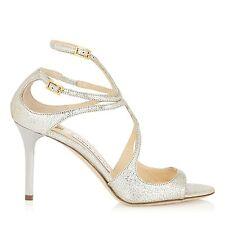 JIMMY CHOO 'ivette' Silver Champagne SANDALS HEELS STRAPPY Size UK 1 Eu 34