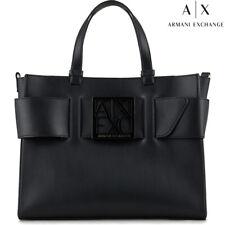 Armani Exchange women's trendy medium Tote bag purse handbag black color