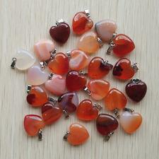 Fashion Natural red Onyx Love Heart Charms Pendants 16mm 50pcs/lot Wholesale