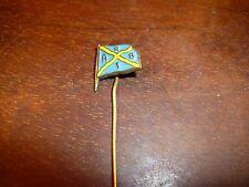 VINTAGE abrt BLU E GIALLO DIPINTO Bandiera, probabilmente la società di spedizione