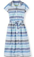 Boden UK 14 Blue Stripe Seatown Shirt Dress Belted Pockets 50's Linen/Cotton