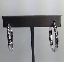 14K Solid White Gold Diamond Cut Hoops Earring 3.5mm