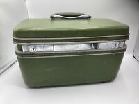 Vintage Samsonite Silhouette Train Makeup Case Hard Shell Luggage Green VGC