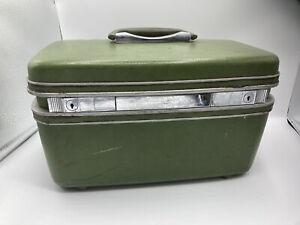 Vintage Samsonite Silhouette Train Makeup Case Hard Shell Luggage Green VGC