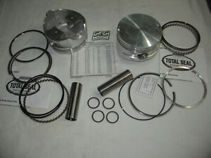 """S&S Flat Top Pistons, 3-13/16"""" Bore, 1.260 Deck Ht, w/Rings & W-Pins, Harley Evo"""