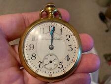 """Filled Open Face 18s Rr Pocket Watch Hampden """"The Dueber Watch Co."""" 21j 14kGold"""