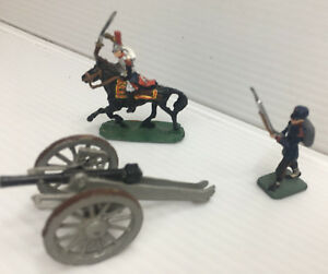 Set of 3 Handpainted Antique Lead Toys Soldier Horse Rifle Cannon South African