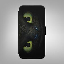 TOOTHLESS NIGHT FURY LEATHER FLIP WALLET PHONE CASE COVER FOR IPHONE AND SAMSUNG