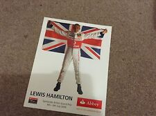 "LEWIS HAMILTON - F1 FORMULA ONE CHAMPION 2008 - Poster 8x10"" CARD"