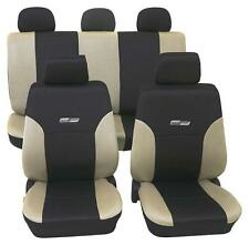 Beige & Black Leather Look Car Seat Covers - For Toyota Camry-Washable