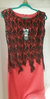 Zesica Red dress with black lace sleeveless dress formal brand NEW size small
