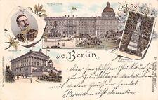 SELTEN 4-Bild-Litho AK 1899 Gruss aus Berlin @Wilhelm II, Nationalgalerie uvm