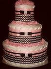 Pink and Black Chevron Diapercake