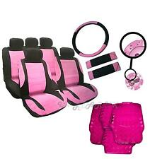 Steering Wheel Belt Leather Look Girly PINK Seat Covers Car Mats dice furry Set