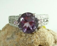 Karis Collection Round Amethyst Ring Pink Sapphire .925 Sterling Silver Sz 8