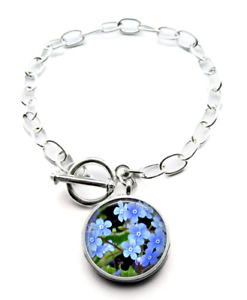 Silver Plated Forget Me Not Photo Bracelet