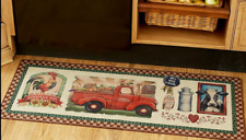PRIMITIVE FARM KITCHEN RUG Barn Rooster Cow Truck Heart Country Sunflower Heart