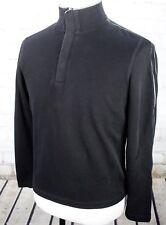 HUGO BOSS Sweater 1/4 Button Pullover Mock Funnel Neck Mens M Black White Stripe