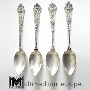 Historismus 800 Silber 4 Tee  Löffel Besteck Bruckmann Gesicht