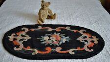 Antique Hand Hooked Rug on Burlap with Blue Ticking Backing