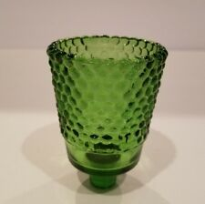 1 w/peg Vintage Hobnail Green Glass Votive Candle Holder