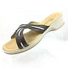TOMMY BAHAMA Women's Brown Leather and Canvas Sandals size 10 Padded Insole NICE