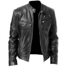 Mens Black & Brown Leather Jacket Vintage Slim Fit Biker Retro Genuine