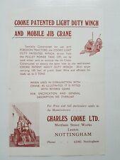 Cooke Patented Light Duty Winch & Mobile Jib Crane 2pg Leaflet /Brochure  Rare??