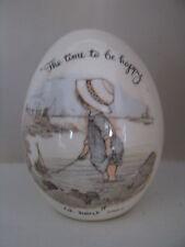 Vintage Holly Hobbie Ceramic Egg Summer Beach Ocean Scene 1973 Time to b Happy