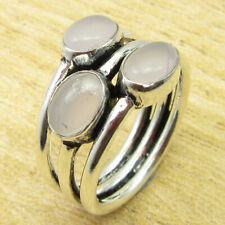 Collectible Rose Quartz FASHIONABLE Ring Size 6.5 ! 925 Silver Plated Jewellery