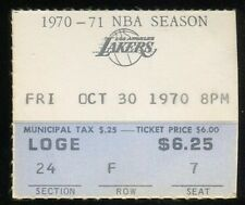 Basketball Ticket L.A. Lakers 1970 Buffalo Braves 10/30 Jerry West HOF