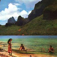 Vintage Pan American Airline Rainbow Service Menu Tahiti Paopao Bay Cook Moorea