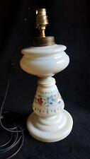 Ancienne Lampe Opaline De Clichy Peint Décor Floral 19ème