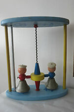 Antique Vtg Playskool Sailor Bell Whirligig Wood Toy 1930's Depression Era Rare!