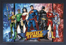 DC JUSTICE LEAGUE 13x19 FRAMED GELCOAT POSTER SUPER HEROES DC COMICS MOVIE TEAM