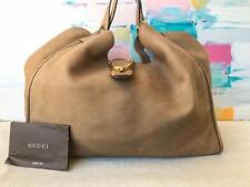 $2090 GUCCI Beige Soft Pebbled Deerskin Gold HW Stirrup Large Hobo Bag on SALE!