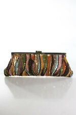 Santi Brown Green Pink Gold Tone Sequin Beaded Clutch